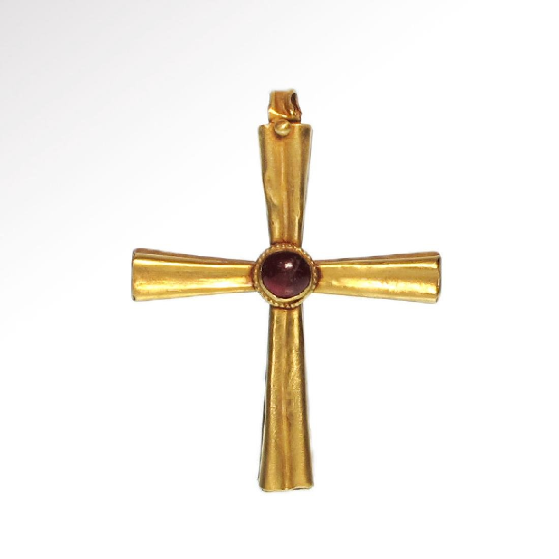 Byzantine Gold and Garnet Cross, 10th-12th Century A.D.