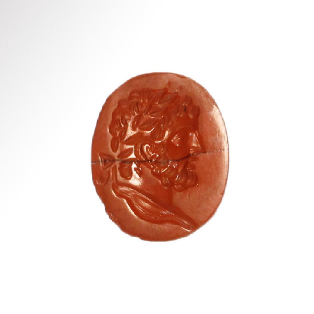 Roman Red Jasper Intaglio with Head of Emperor