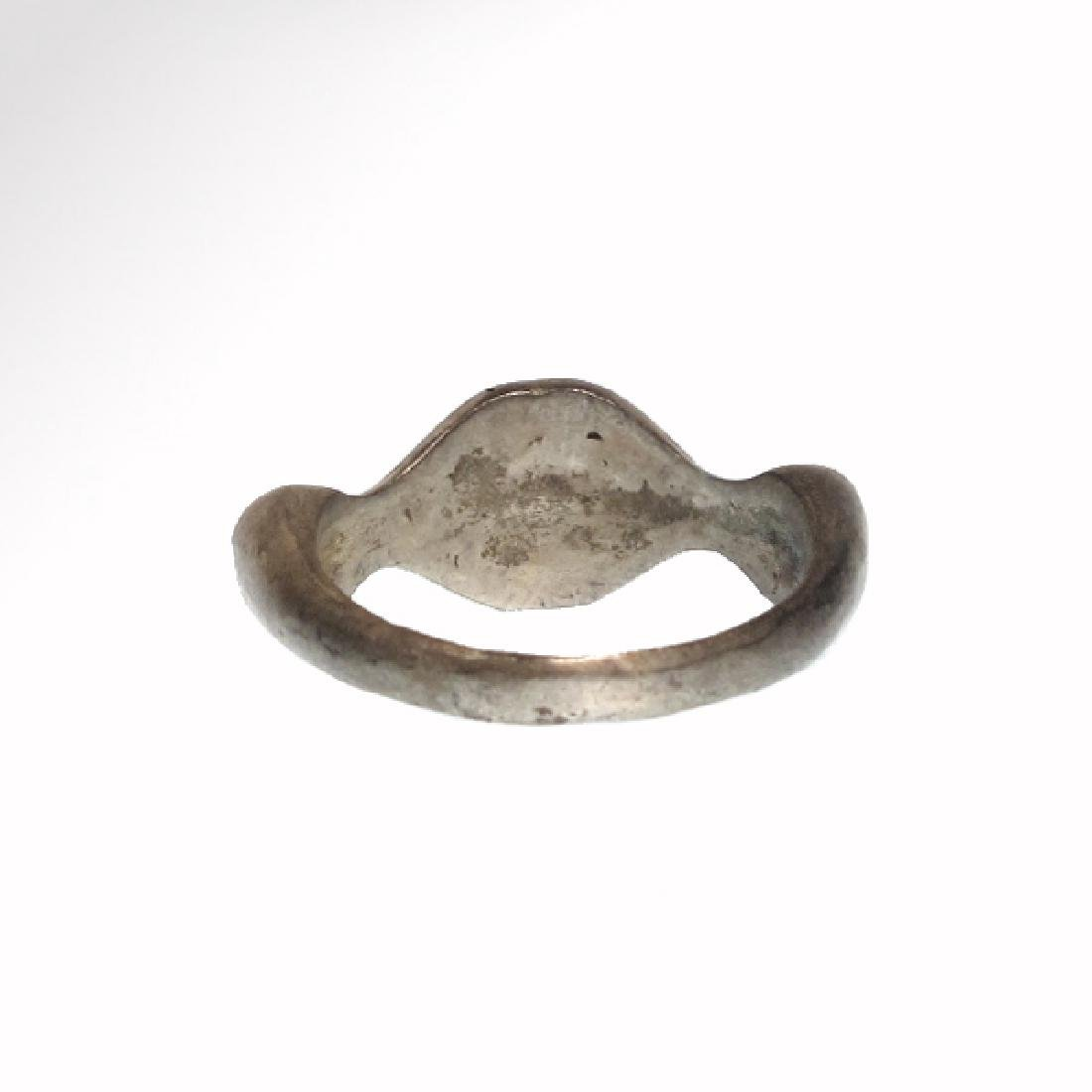 Byzantine Silver Ring with Monogram Cross - 5