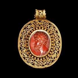 Roman Gold and Cornelian Pendant, Bust of Emperor, c.