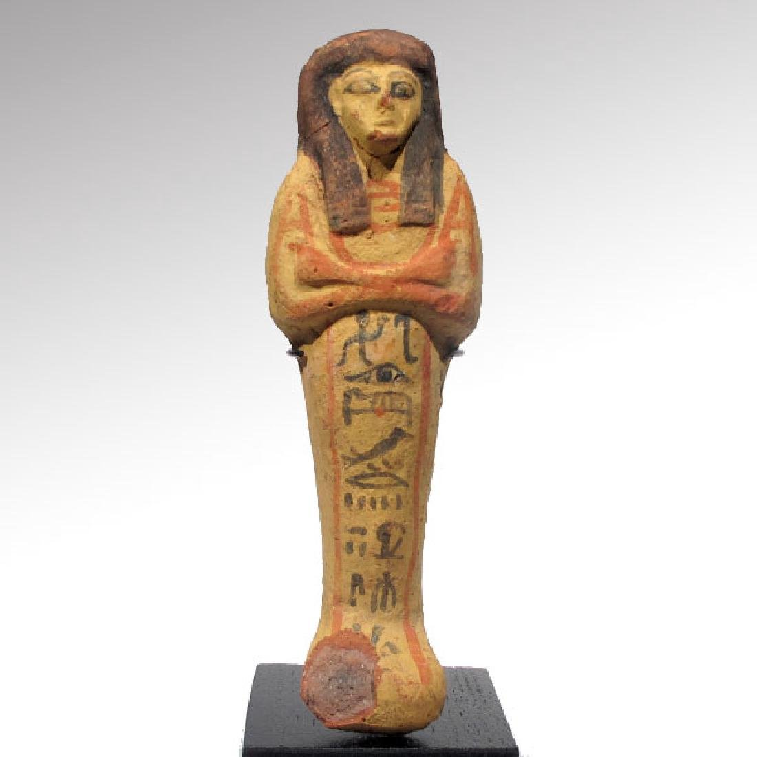 Large Egyptian Painted Terracotta Shabti, 19th Dynasty,