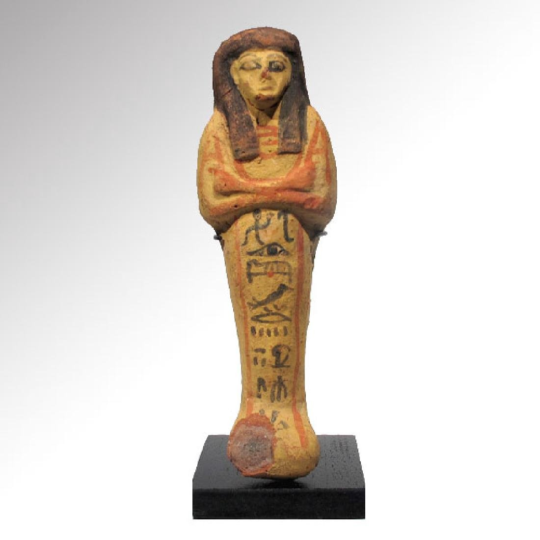 Large Egyptian Painted Terracotta Shabti, 19th Dynasty, - 2