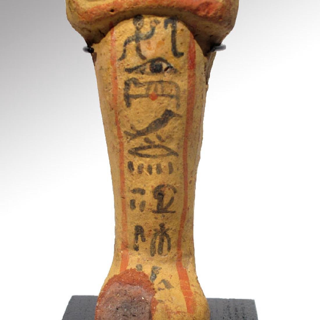 Large Egyptian Painted Terracotta Shabti, 19th Dynasty, - 4