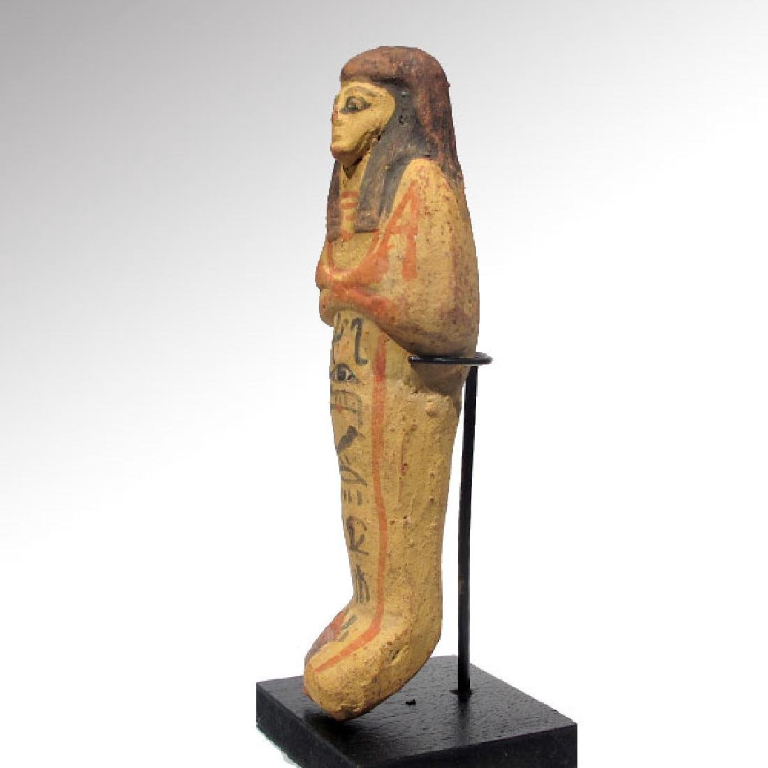 Large Egyptian Painted Terracotta Shabti, 19th Dynasty, - 5