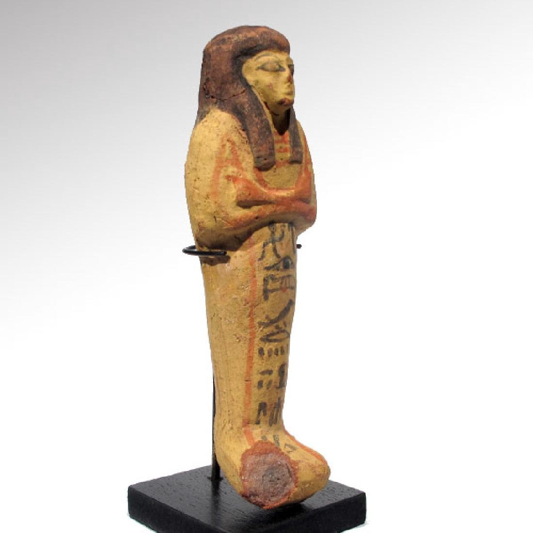 Large Egyptian Painted Terracotta Shabti, 19th Dynasty, - 6