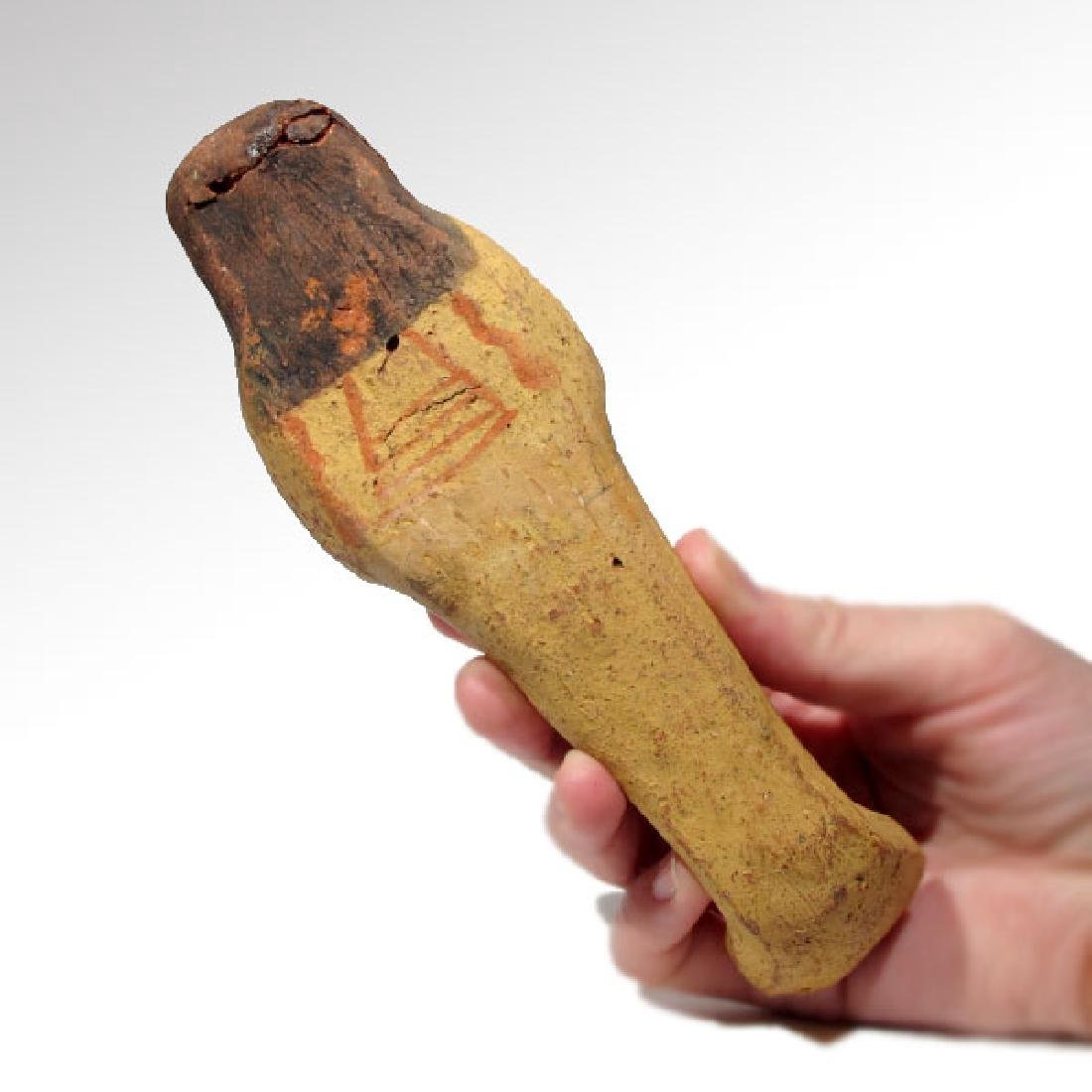 Large Egyptian Painted Terracotta Shabti, 19th Dynasty, - 7