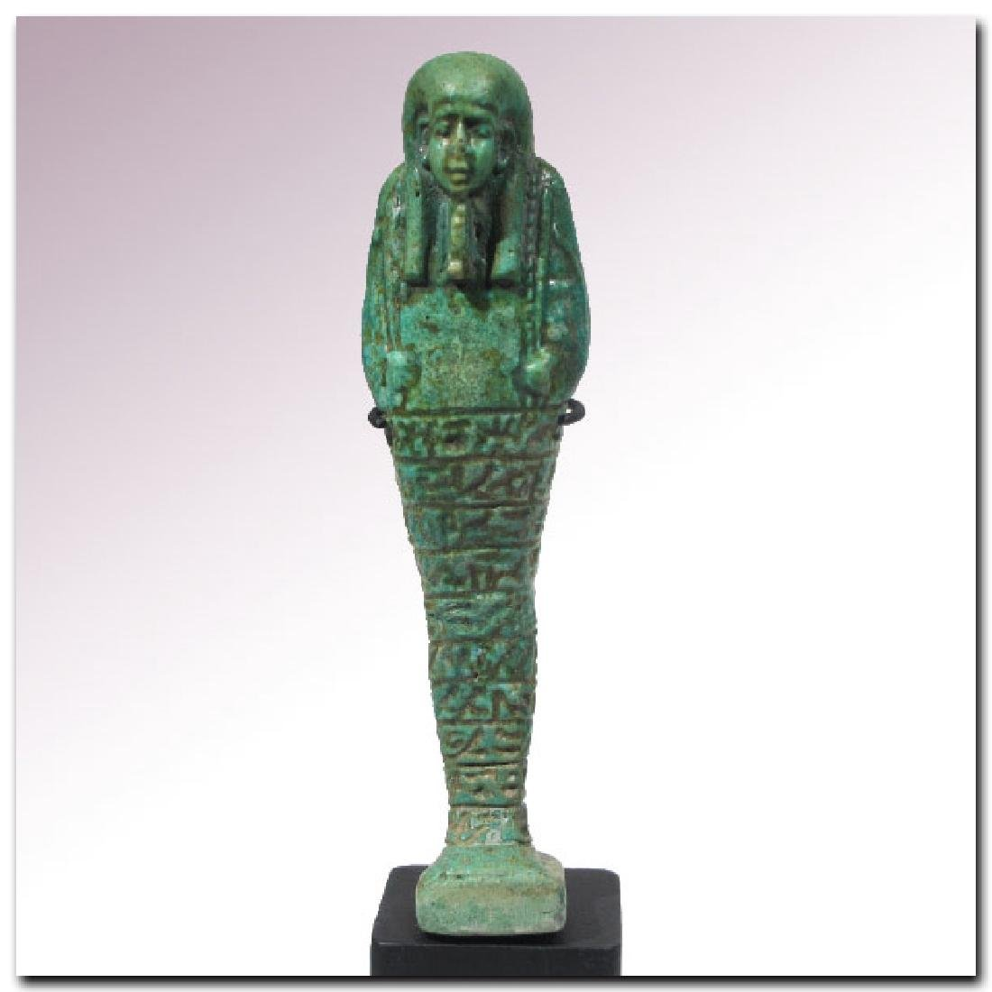 Large Egyptian Faience Shabti, Inscribed to the Royal