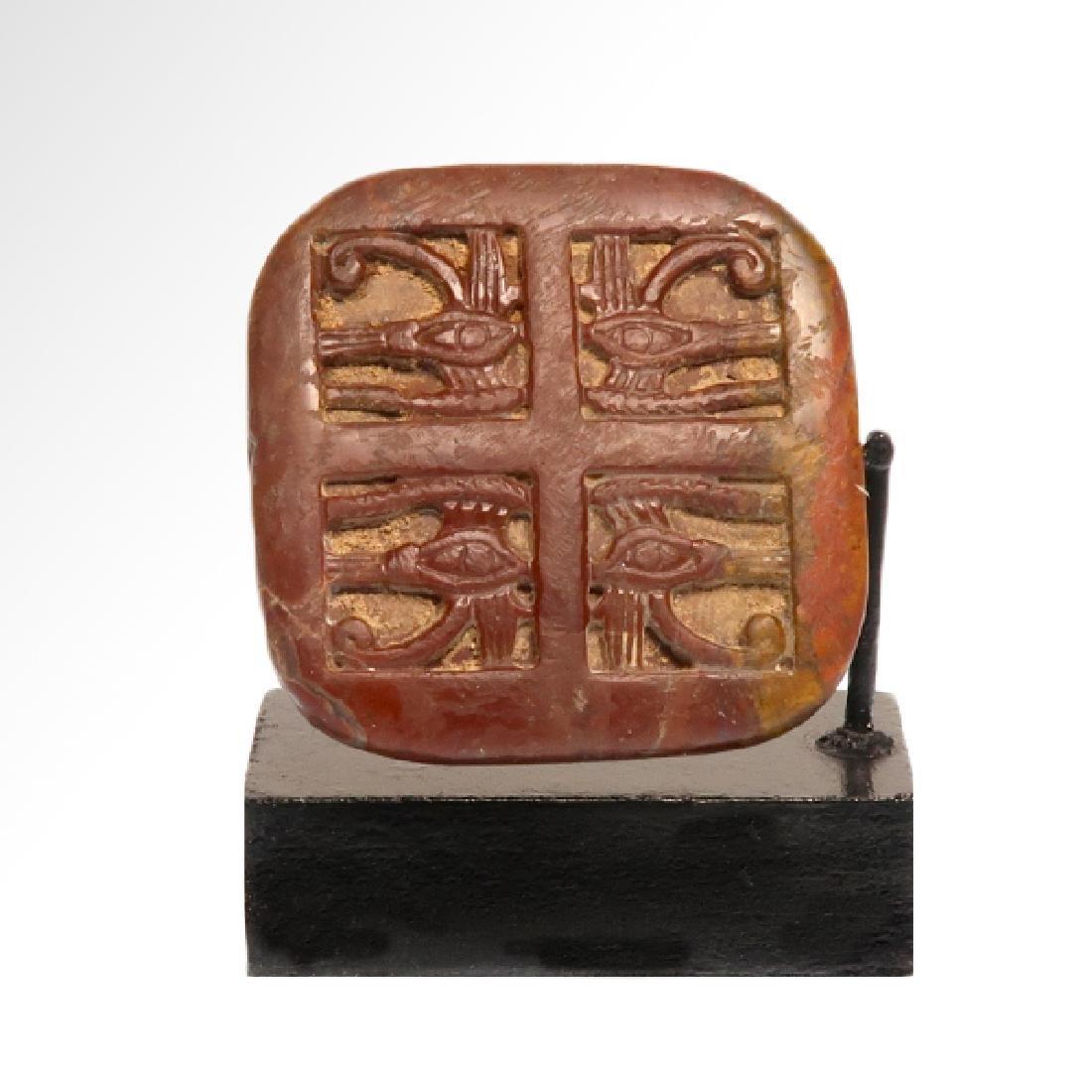 Egyptian Jasper Amulet With Four Eyes of Horus - 2