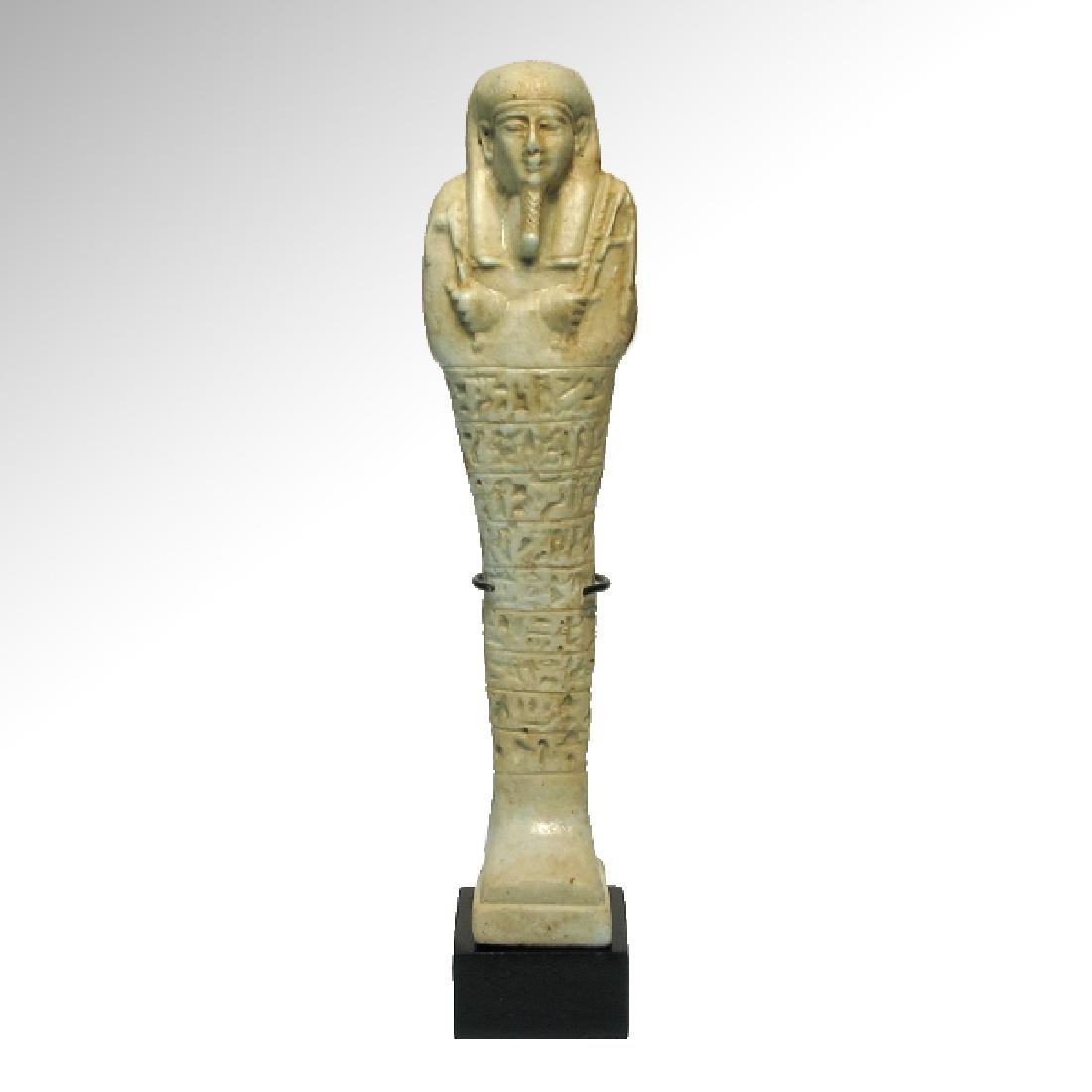 Large Egyptian Faience Inscribed Shabti,c. 600-400 B.C.
