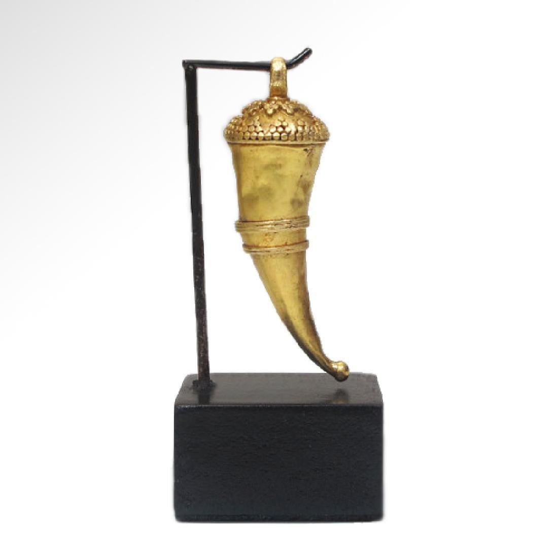 Roman Gold Pendant, Cornucopia, c. 2nd Century A.D.