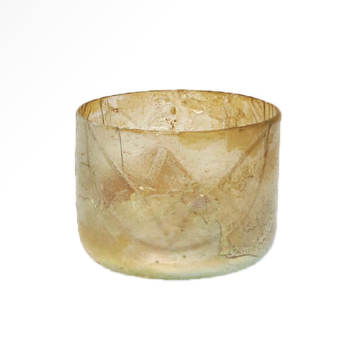 Roman Egyptian Cut Glass Beaker with Lotus