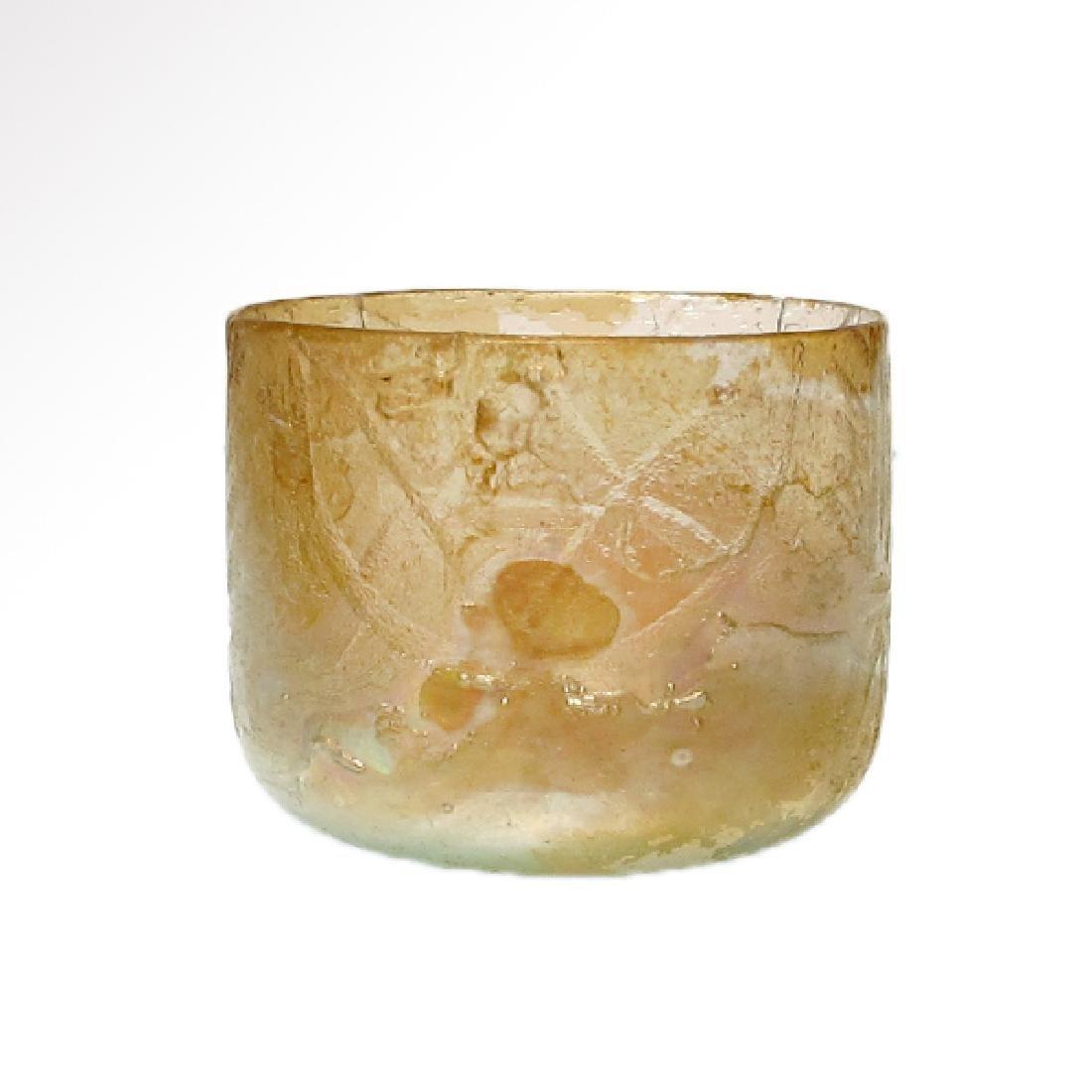 Roman Egyptian Cut Glass Beaker with Lotus - 2