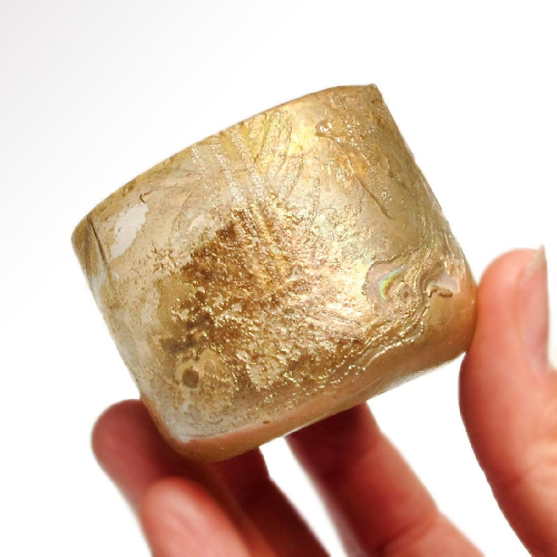 Roman Egyptian Cut Glass Beaker with Lotus - 3