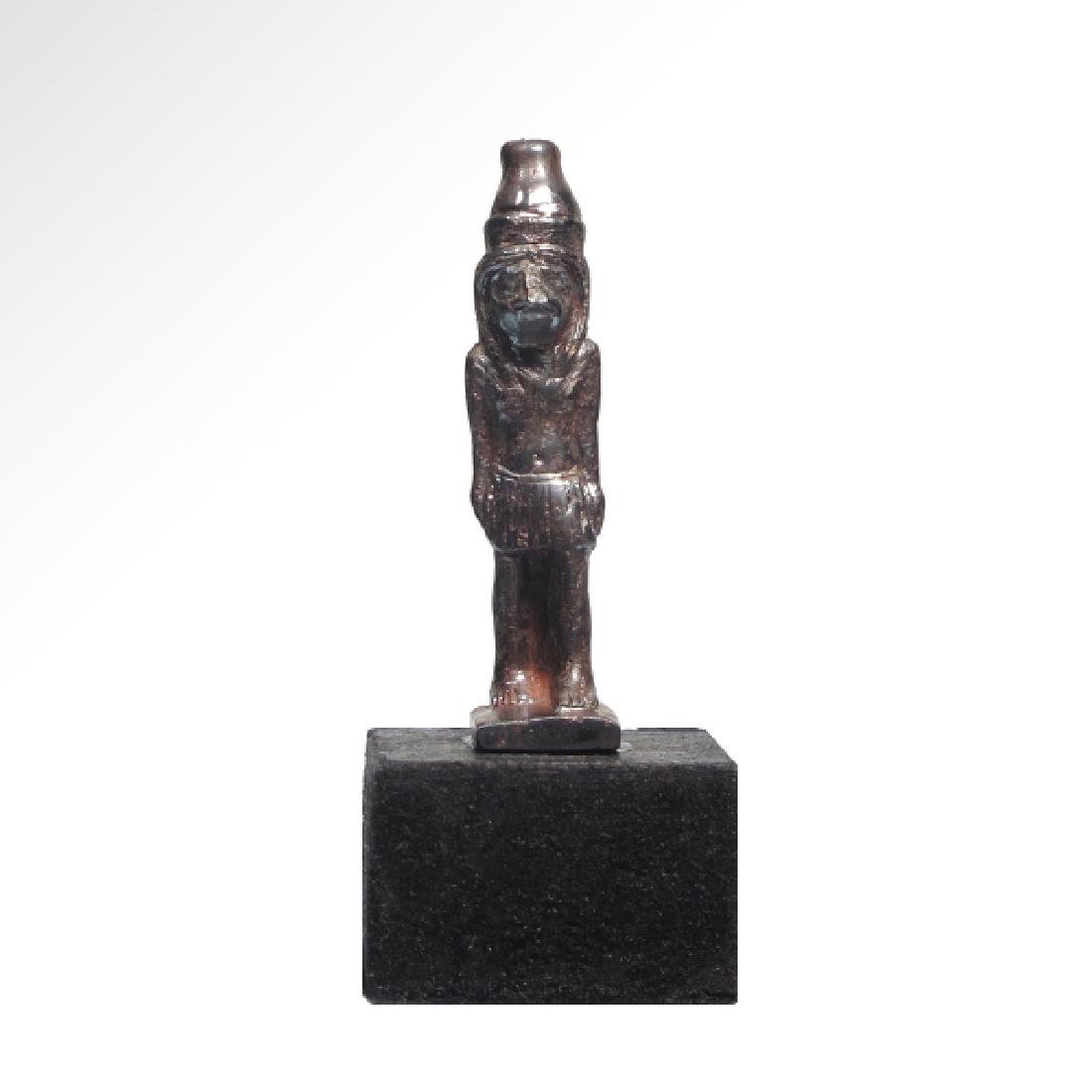 Egyptian Hematite Amulet of the Standing Falcon-Headed