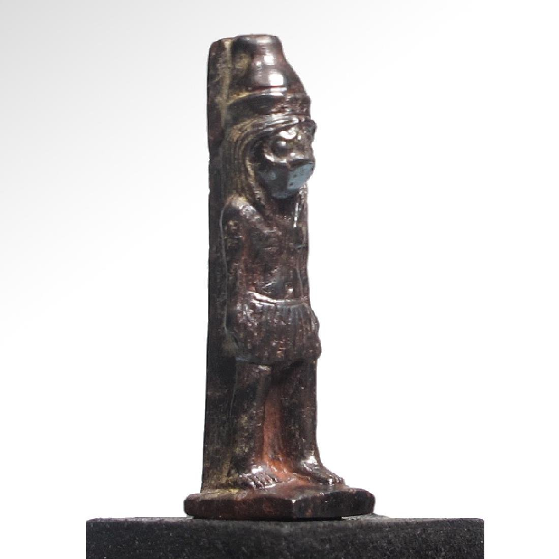 Egyptian Hematite Amulet of the Standing Falcon-Headed - 2