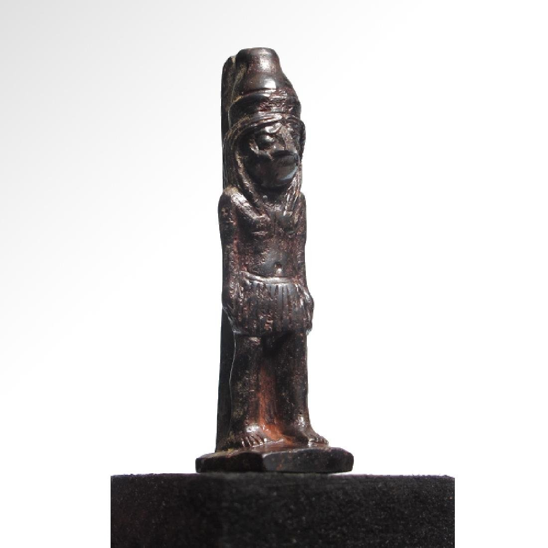 Egyptian Hematite Amulet of the Standing Falcon-Headed - 3