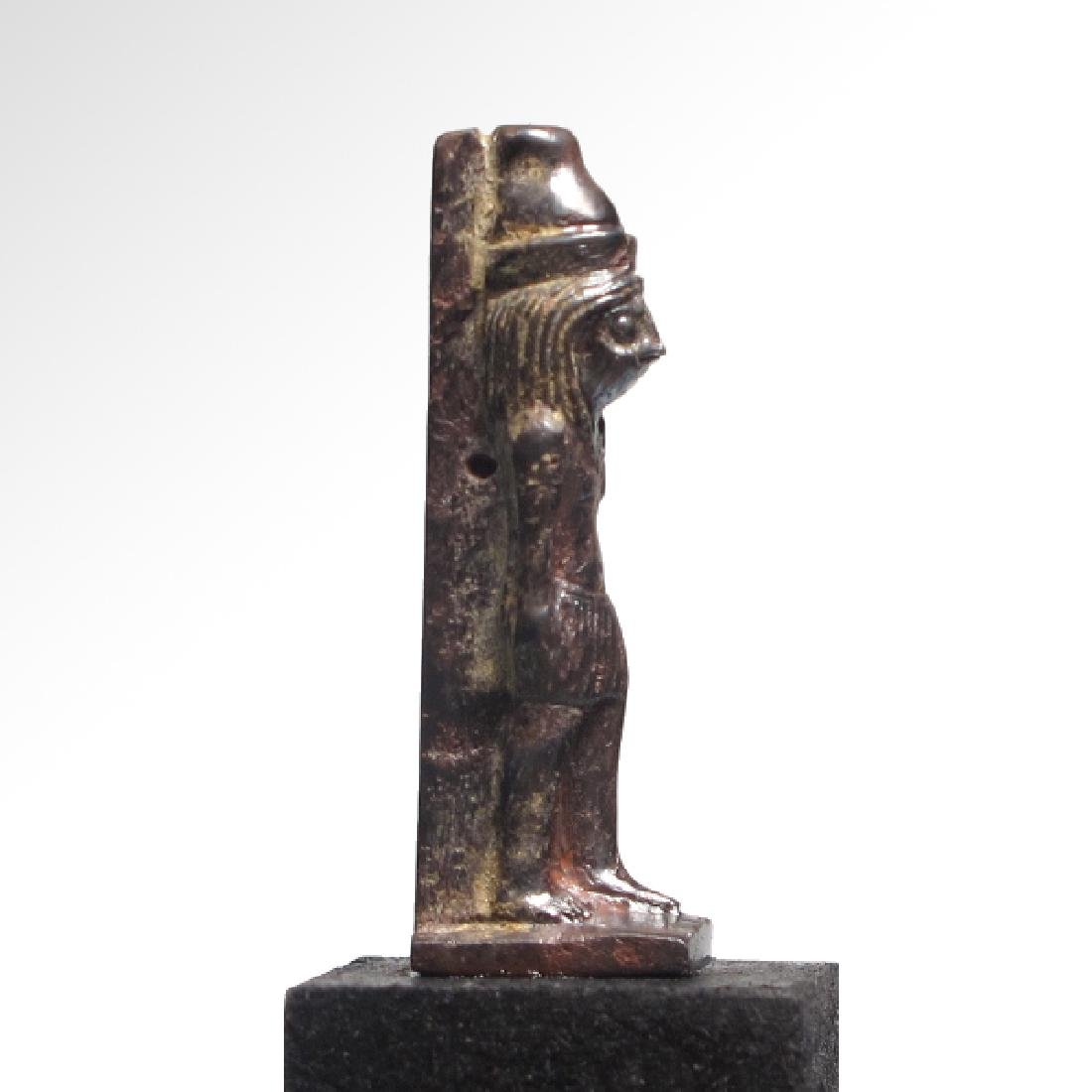 Egyptian Hematite Amulet of the Standing Falcon-Headed - 4