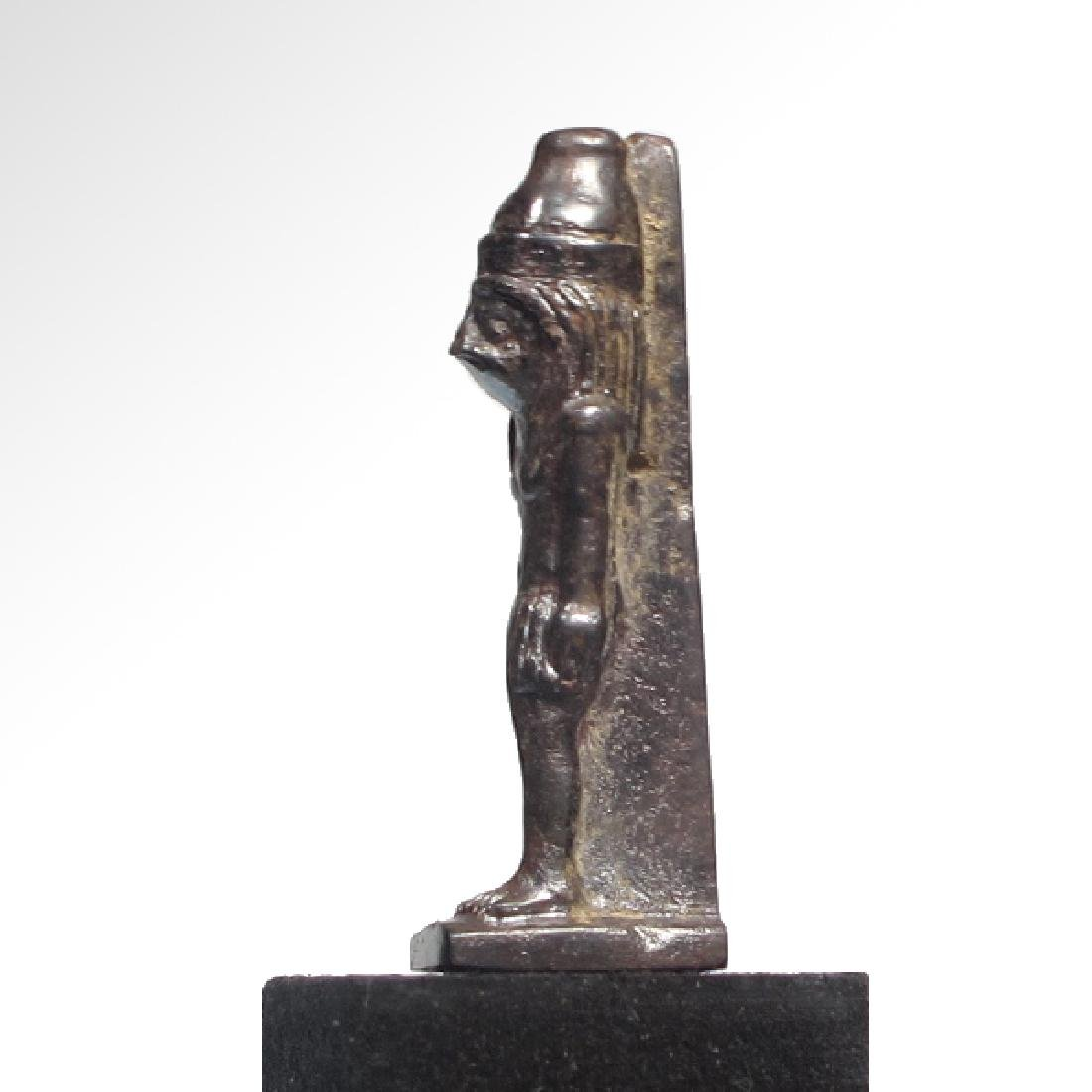 Egyptian Hematite Amulet of the Standing Falcon-Headed - 5