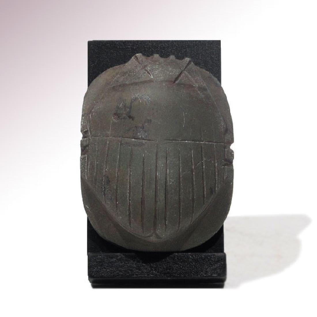 Egyptian Black Steatite Heart Scarab, c. 664-332 B.C.