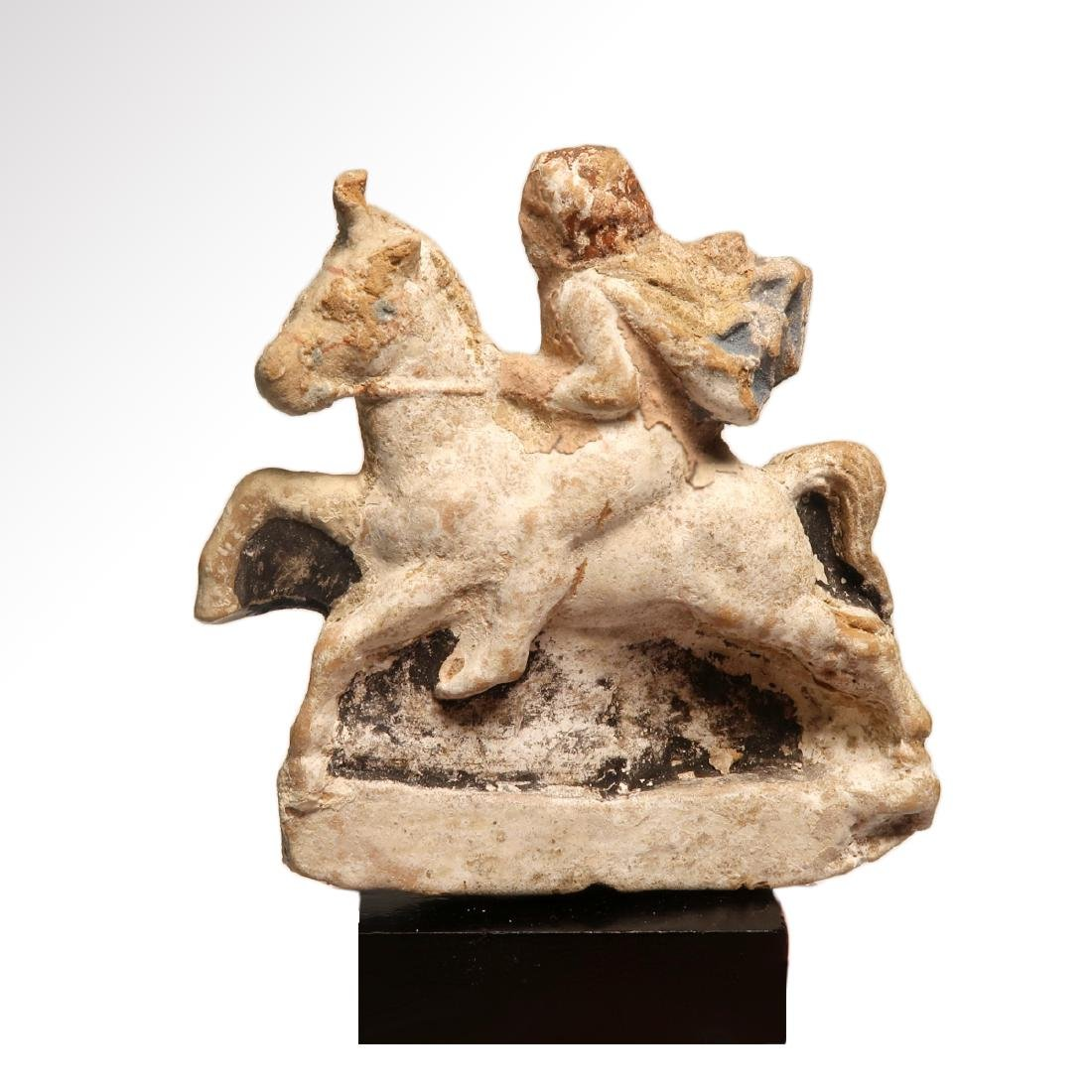 Greek Polychrome Terracotta Figure of a Horse and - 5