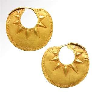 Large Sumerian Gold Earrings, c. 2500-2200 B.C.