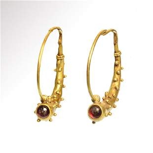 Roman Gold and Garnets Earrings, Cornucopia, c. 2nd