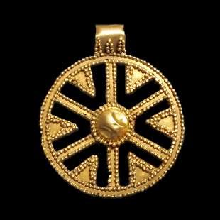Neo Babylonian Gold Pendant, Open Work Sun Symbol, c.