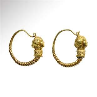 Greek Gold Figural Earrings, c. 4th - 3rd Century B.C.