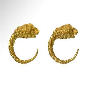 Greek Gold Lion-Head Earrings, c. 4th - 1st Century