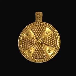 Viking Gold Filigree Pendant with Cross, c. 9th - 11th