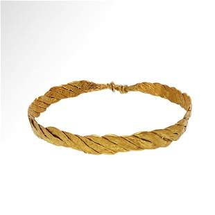 Greek Gold Tressed Bracelet, c. 4th-3rd Century B.C.
