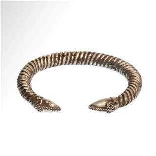 Greek Silver Bracelet with Ram Heads Terminals c 5th