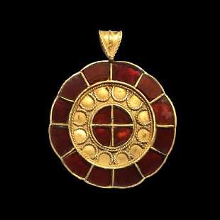 Saxon Gold and Garnet Pendant, c. 7th Century A.D.