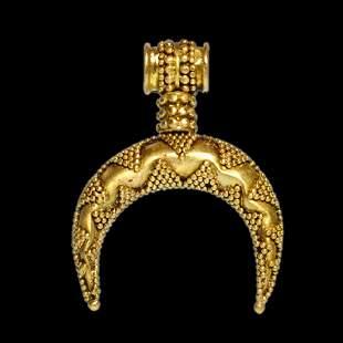 Greek Hellenistic Gold Lunar Pendant, c. 1st Century