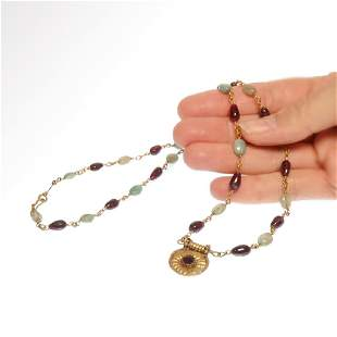 Roman Gold Emeralds and Garnets Necklace 2nd4th