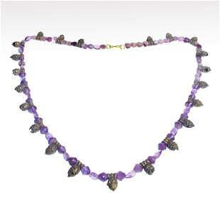 Greek Silver and Amethyst Necklace, c. 4th-2nd Century