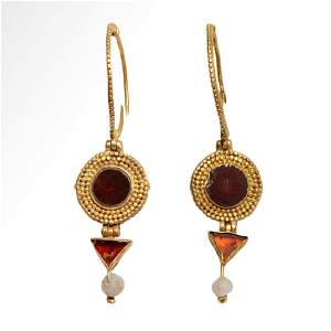 Roman Gold and Garnets Earrings, c. 1st Century A.D.