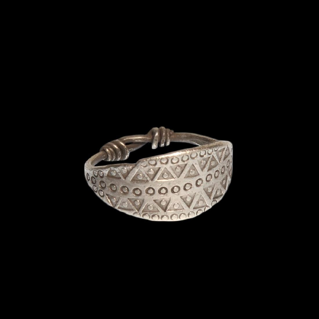 Viking Silver Ring with Wolf's Tooth Decoration
