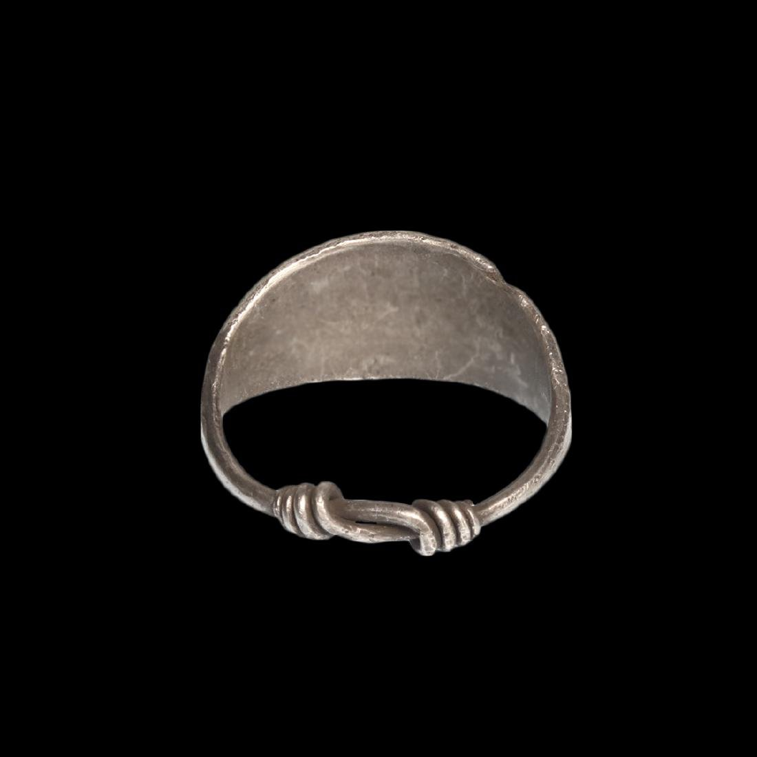 Viking Silver Ring with Wolf's Tooth Decoration - 5