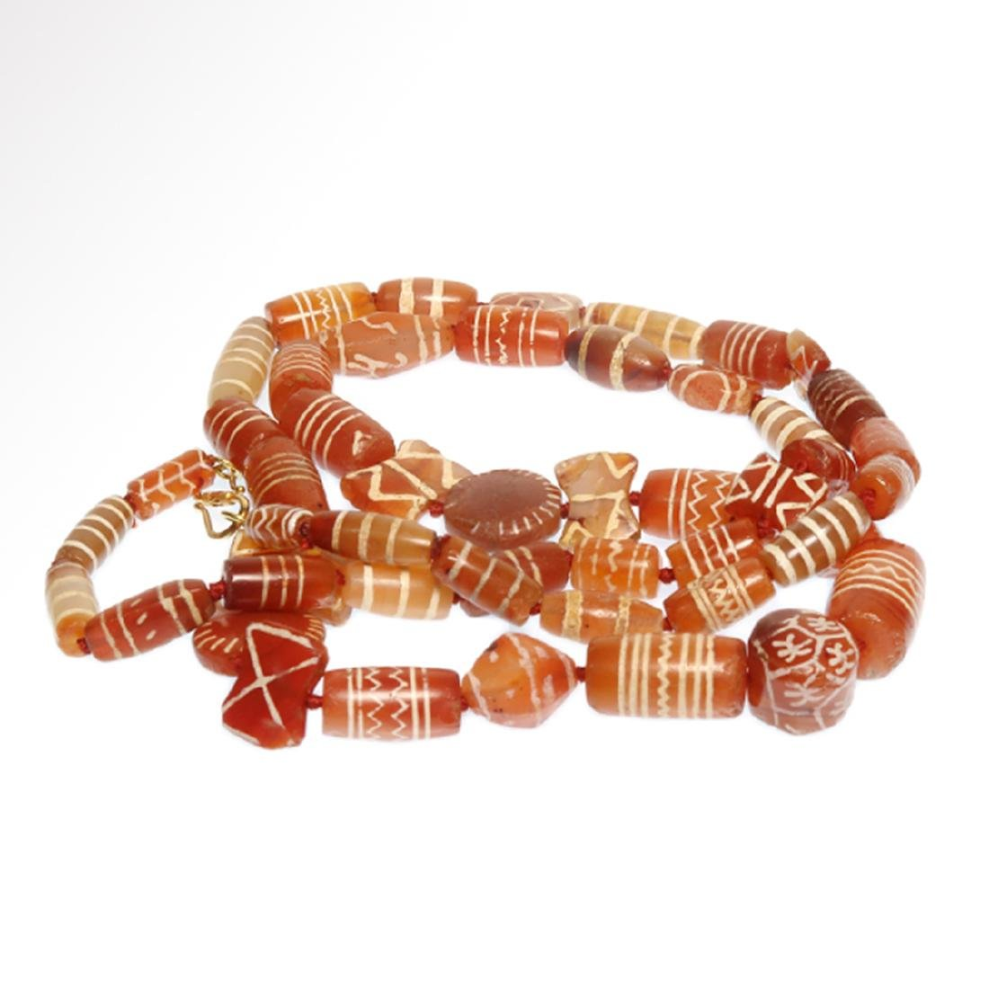 Cornelian Etched Beads Necklace, Near Eastern, 1st