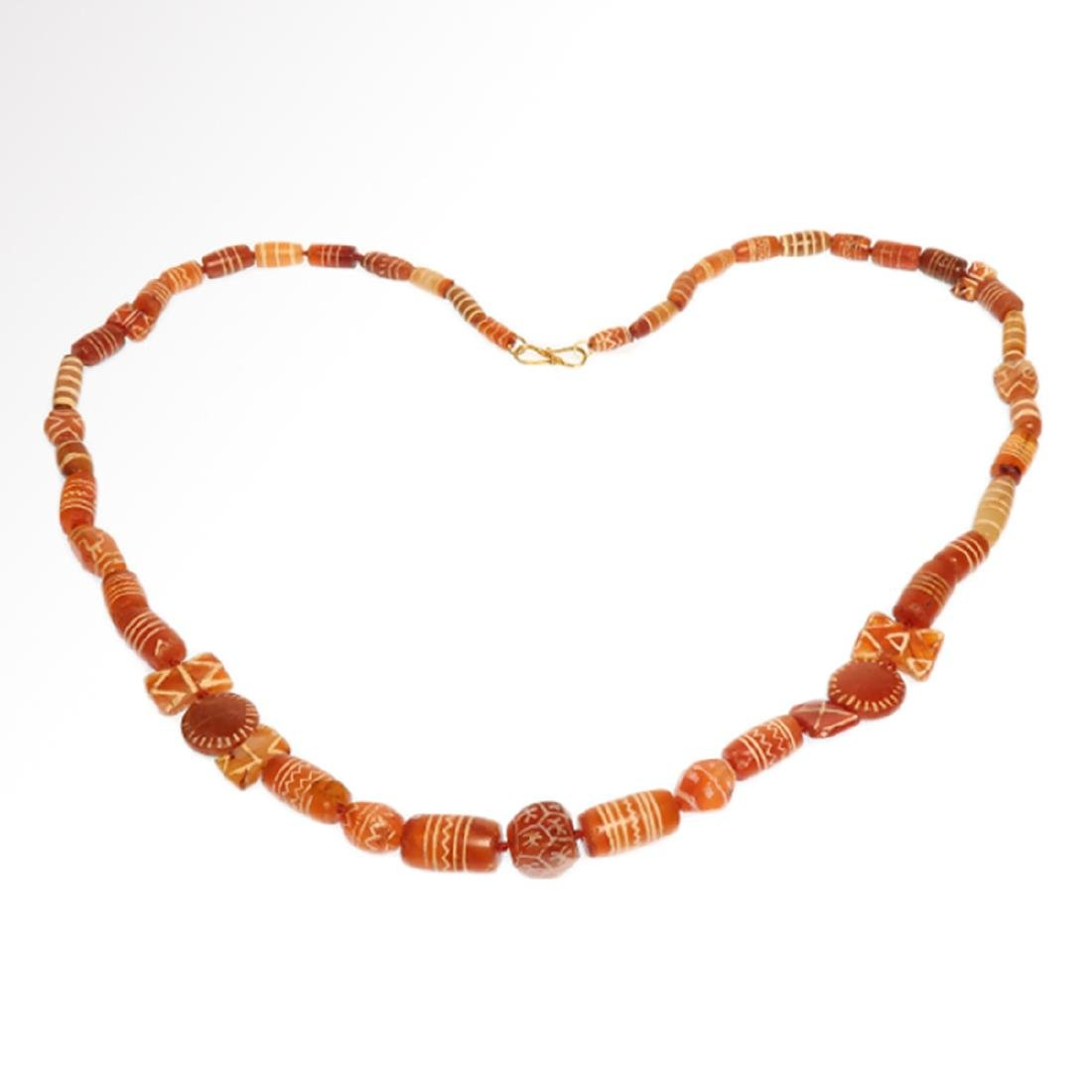 Cornelian Etched Beads Necklace, Near Eastern, 1st - 2