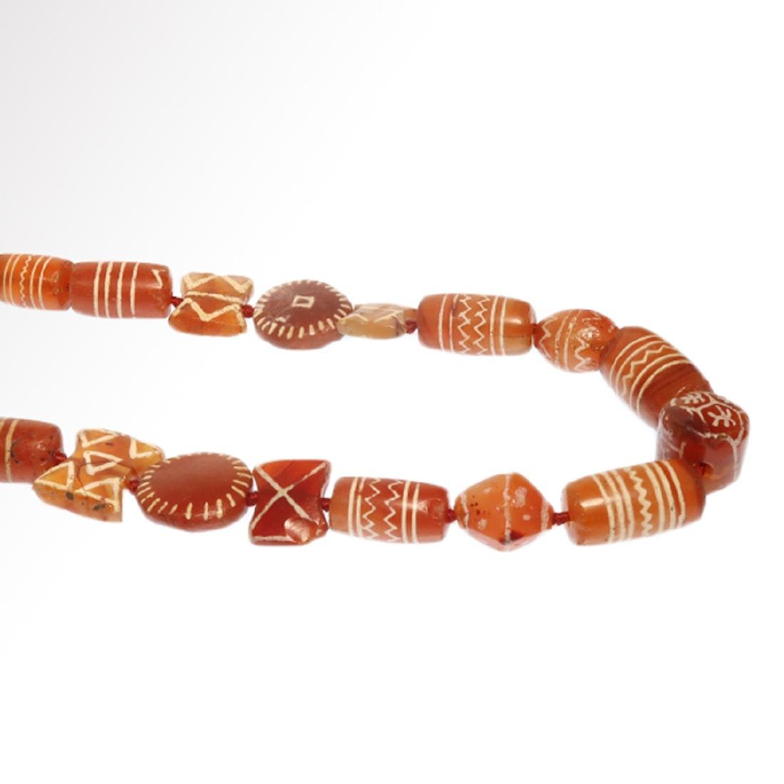 Cornelian Etched Beads Necklace, Near Eastern, 1st - 3