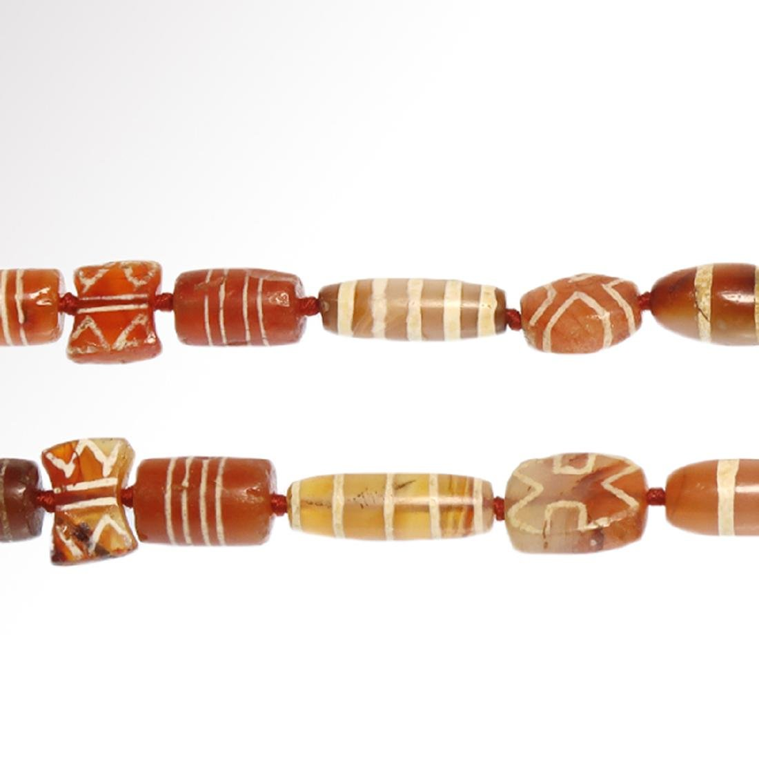 Cornelian Etched Beads Necklace, Near Eastern, 1st - 4