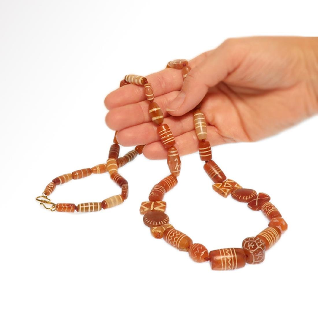 Cornelian Etched Beads Necklace, Near Eastern, 1st - 6