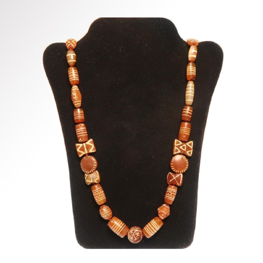 Cornelian Etched Beads Necklace, Near Eastern, 1st - 7