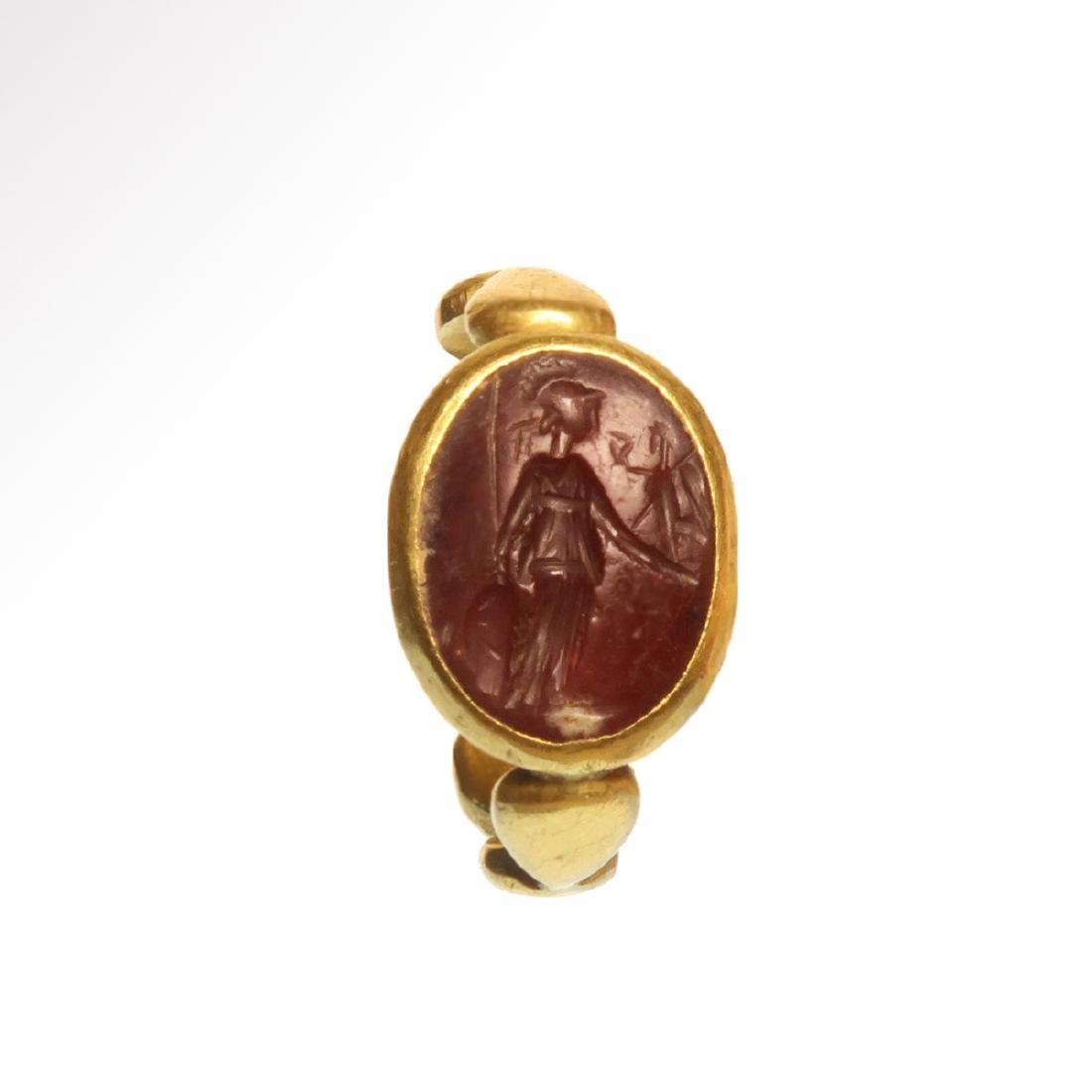 b500d46a744d1 Roman Solid Gold Ring with Cornelian Minerva Intaglio,