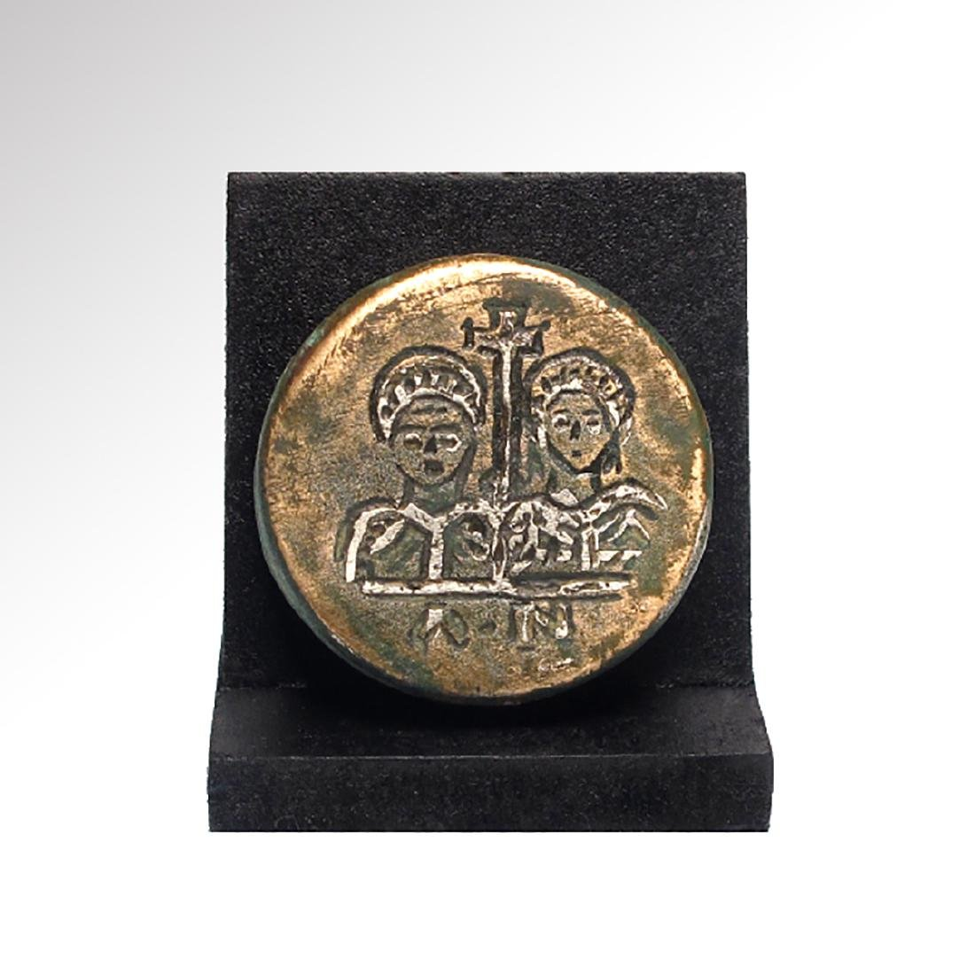 Byzantine Silver Inlaid Bronze Weight with Head of