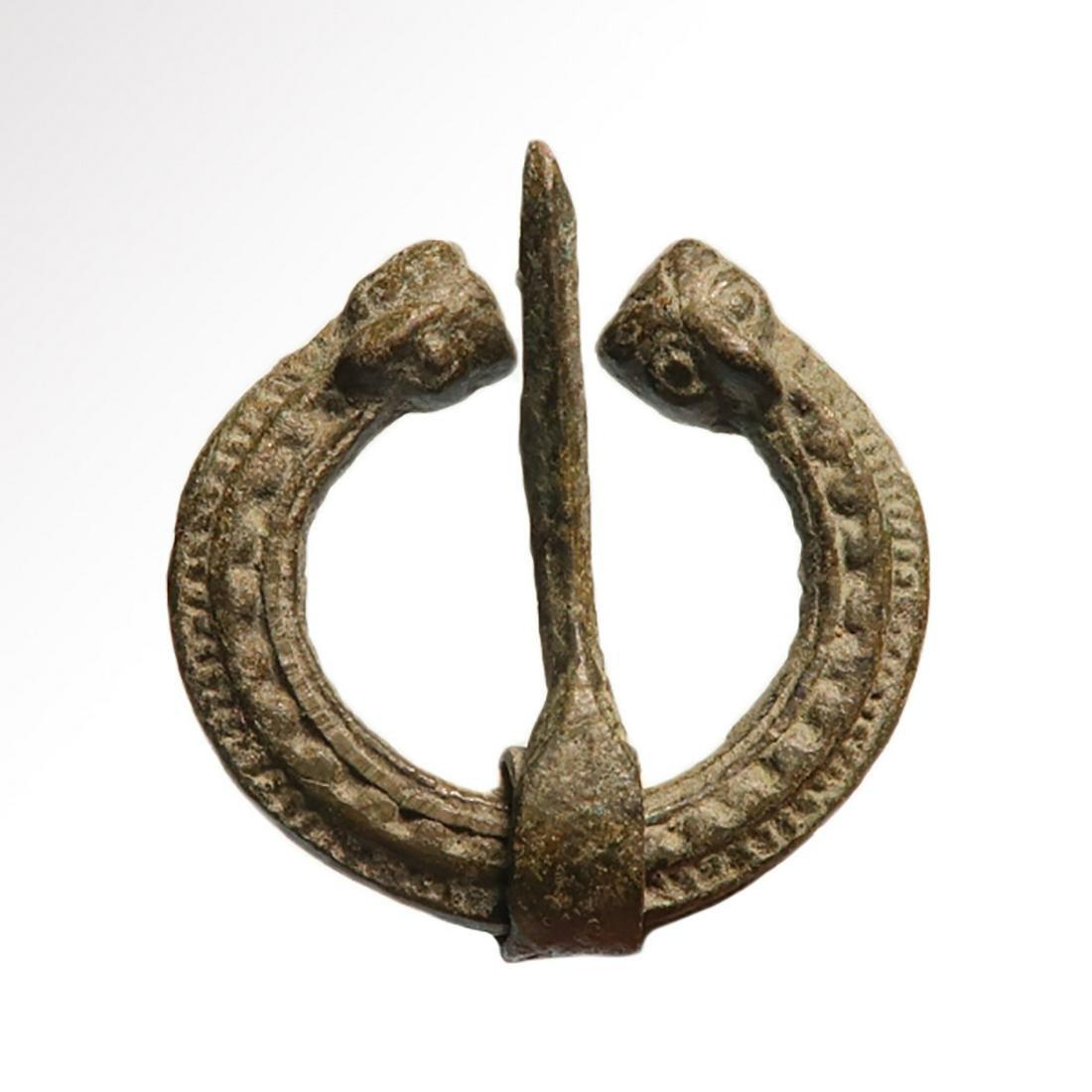 Viking Bronze Brooch, Eagles Heads, c. 9th-10th Century