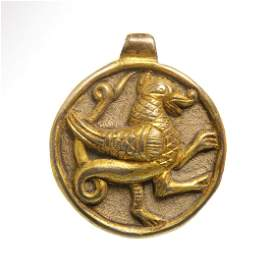 Medieval Viking Gilt Silver Pendant with Winged Norse