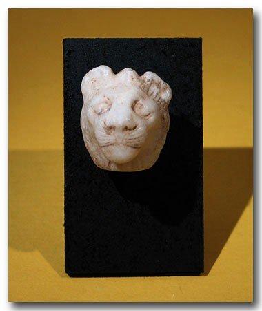 24: Egyptian Alabaster Lion Head, c. 900 B.C.